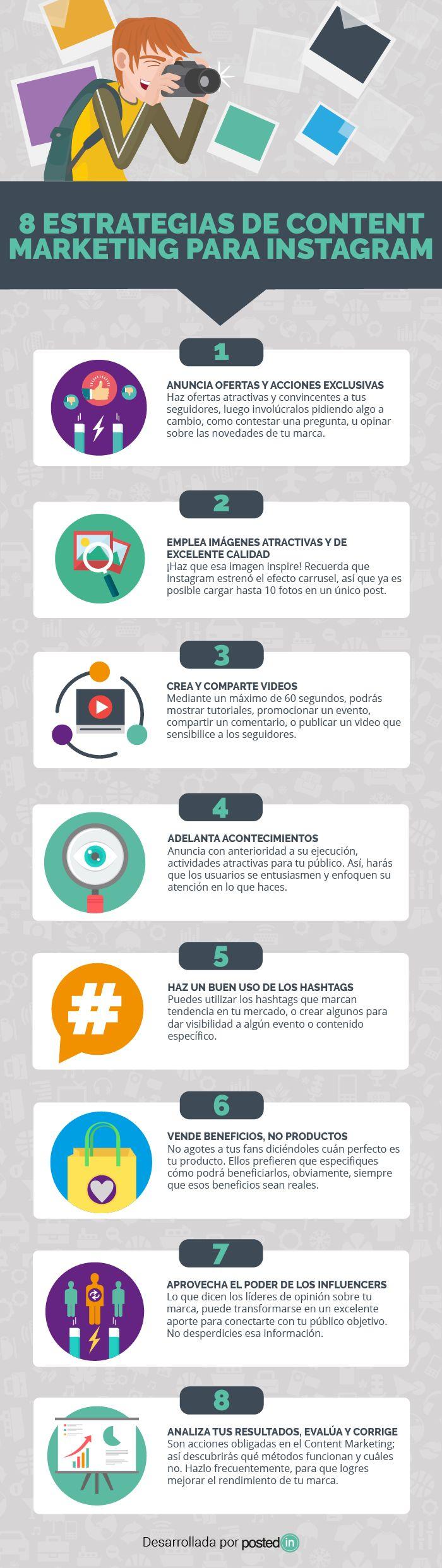 Hola: Una infografía con8 estrategias de marketing de contenidos para Instagram. Vía Un saludo