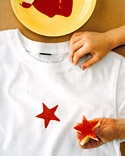 Potato-stamp shirts...use a cookie cutter to make any shape.