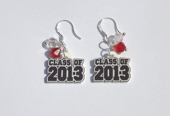 Class of 2013 Earrings. High School Graduation Gift.  Add your school colors. Dangle or Stud. Graduation Earrings. Graduation Gift. $8.99, via Etsy.