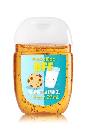 BFF - Cookies & Milk - PocketBac Sanitizing Hand Gel - Bath & Body Works - Now with more happy! Our NEW PocketBac is perfectly shaped for pockets & purses, making it easy to kill 99.9% of germs when you're on-the-go! New, skin-softening formula conditions with Aloe & Vitamin E to leave your hands feeling soft and clean.