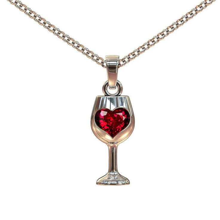Wine Glass Pendant And Chain