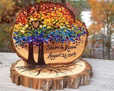 Rústico mismo sexo Topper de la torta, borde vivo rama rebanadas, árboles de arco iris, personalizado