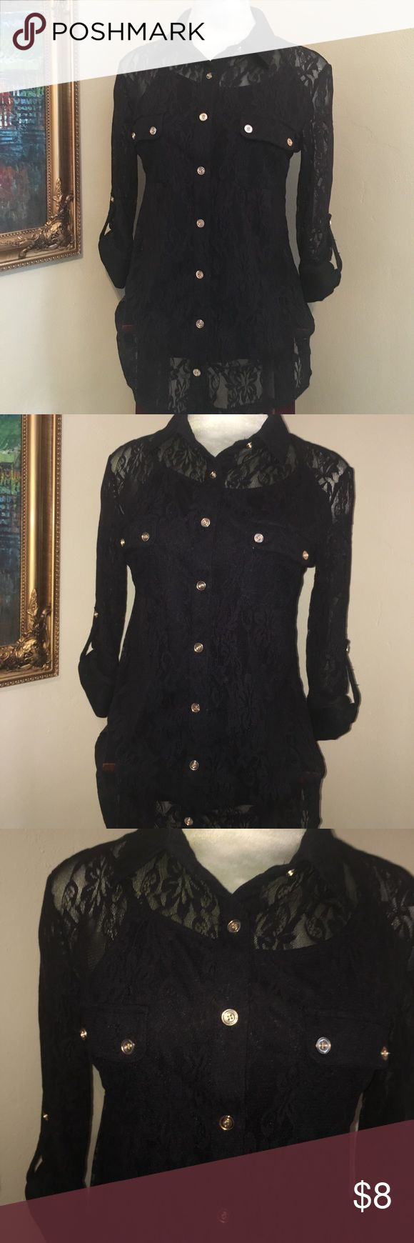 Black Lace Button Down set A gorgeous black lace Button Down Shirt with black cami. Beautiful gold button front & on each sleeve. Perfect cocktail or party shirt or even date night. EUC new directions Tops Button Down Shirts
