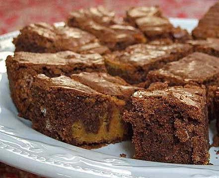 Chocolate- Pumpkin Brownies: unsalted butter, cream cheese, soften, white sugar, large eggs, pumpkin purée, pure vanilla extract, ground cinnamon, ground ginger, all-purpose flour, semisweet chocolate, unsalted butter, large eggs, white sugar, pure vanilla extract, salt, all-purpose flour