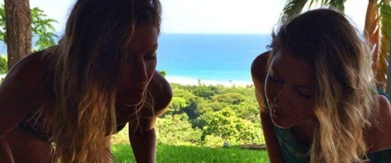 Celebrity| pinned by Serafini Amelia| Bikini-Clad Gisele And Her Twin Sister Celebrate Their 34th Birthday