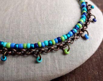 Collar asimétrico largo capas collar pulsera con cuentas por anainc