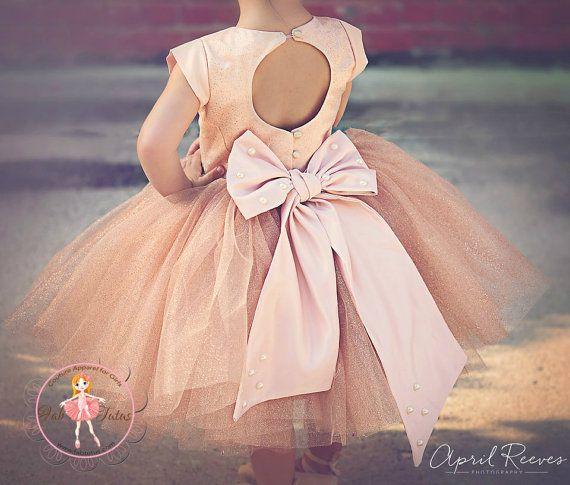 Champagne glitter flower girl tutu dress with by FabTutus on Etsy