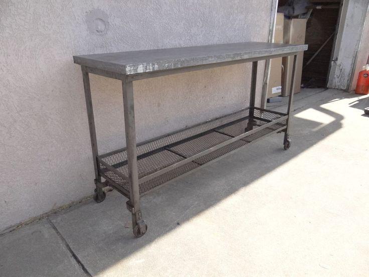 Metal Foyer Table : Urban industrial metal zinc top sofa hall foyer console