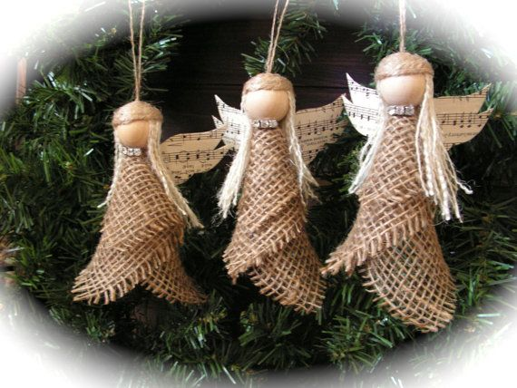 Christmas Ornament burlap angel set of 3 by Mydaisy2000 on Etsy