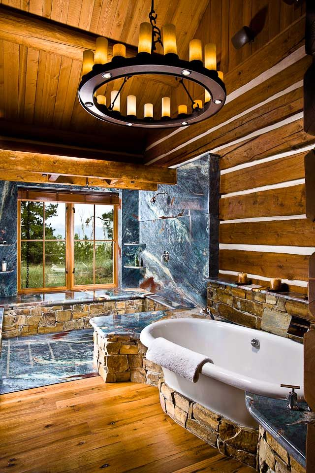 Beautiful log home bathroom retreat things that inspire for Log cabin bathroom pictures