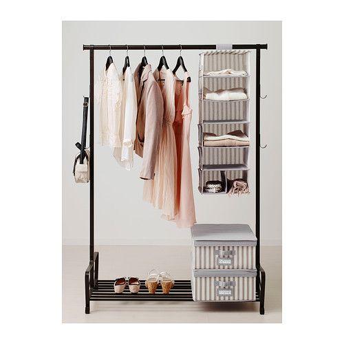 svira h ngeaufbewahrung 7 f cher grau wei streifen h ngeaufbewahrung f cher und ikea. Black Bedroom Furniture Sets. Home Design Ideas