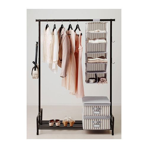 svira hanging storage with 7 compartments gray white stripe hanging storage. Black Bedroom Furniture Sets. Home Design Ideas