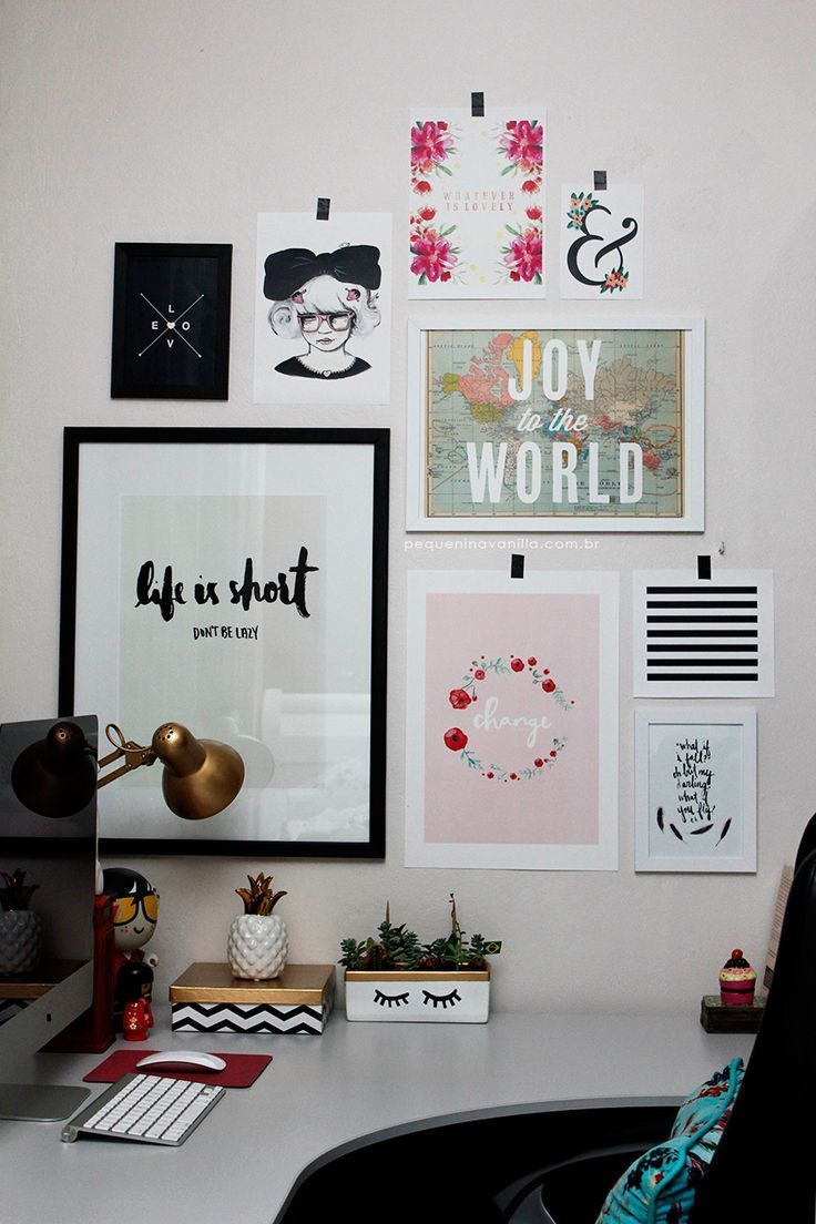 Simple office decor using your favorite paintings.
