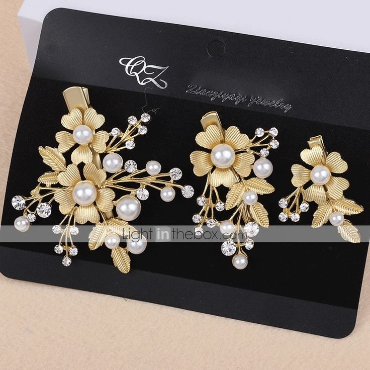 Lady's Baroque Style Gold Leaf Olive Crystal Pearl Barrette Clip Hair Jewelry for Wedding Party (Set of 3) 4892834 2017 – $7.14