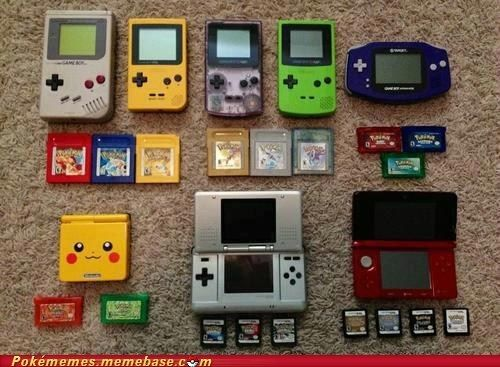 Every Pokémon Version game and their handhelds. I'd be jealous too but I too own these.