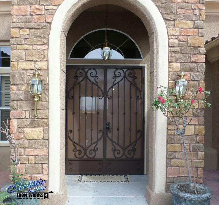 Mozart wrought iron security screen double doors model for Double door screen door