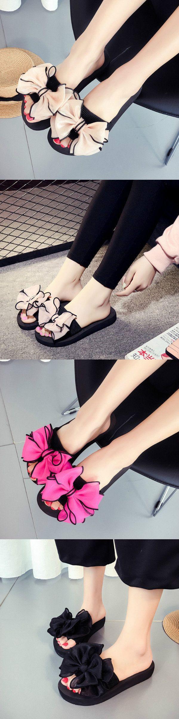 US$9.04  Bowknot Peep Toe Beach Casual Flat Sandals For Women