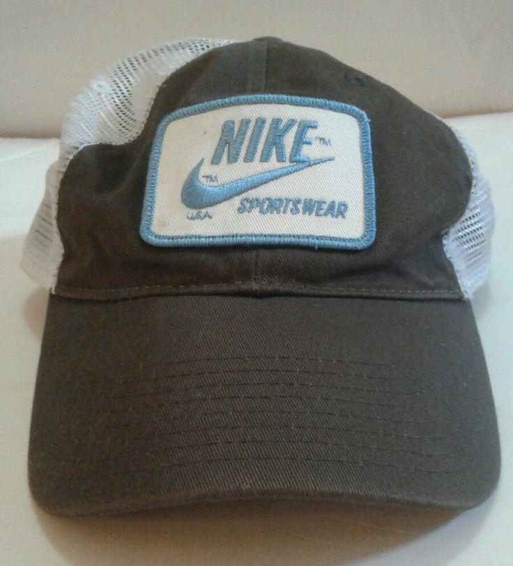 Vintage NIKE USA Sportswear Mesh Snapback Hat Brown Blue Logo | eBay
