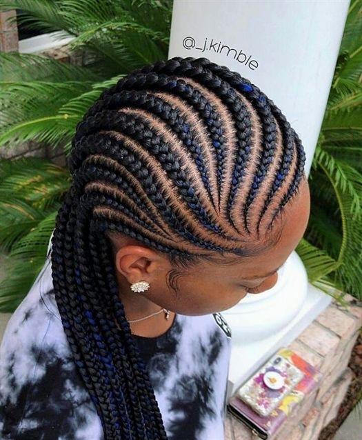 "Ghanaian hairstyles on Instagram: ""Lovely cornrows @_j.kimble 💙💙 #feedinbraids #cornrowbraids . . . #follow @ghanaianhairstyles @_j.kimble #feedinbraids #feederbraids…"" #BraidsForWomen"