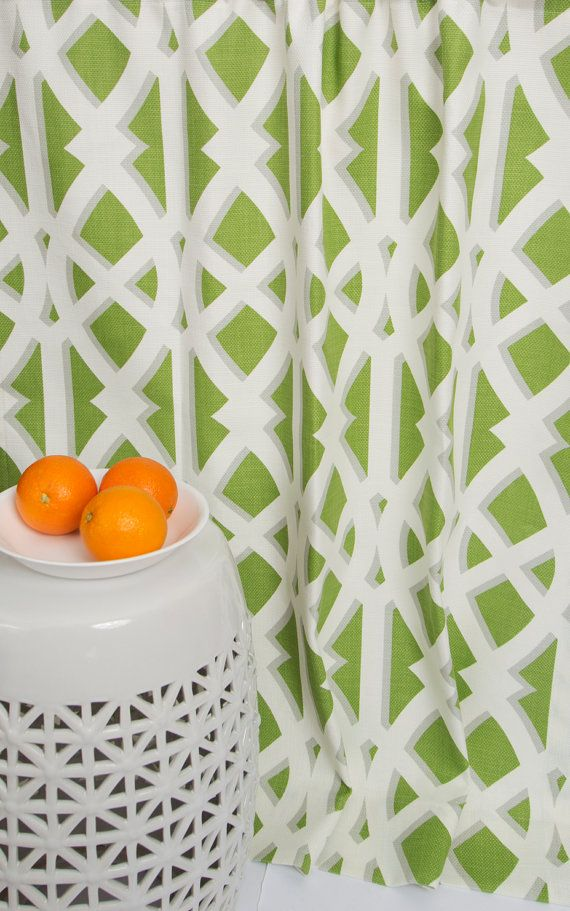 Beautiful Springy Color Window Panels!  Modern Lime Green Curtains  Green and White by TheFabricAffair, $255.00