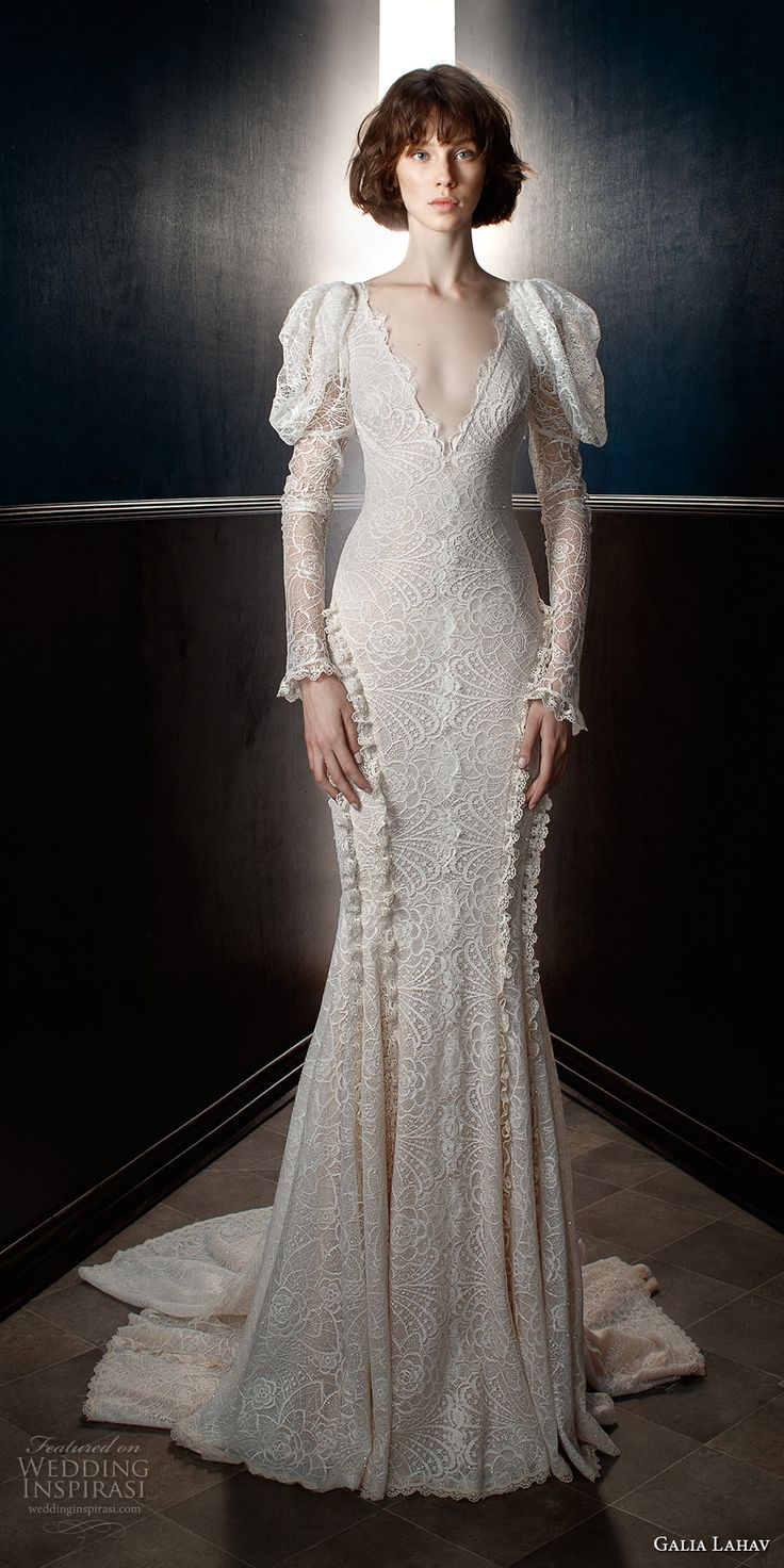 galia lahav spring 2018 bridal leg of mutton long sleeves v neck full embellishment elegant vintage fit and flare wedding dress open v back chapel train (charlie) mv -- Galia Lahav Spring 2018 Wedding Dresses