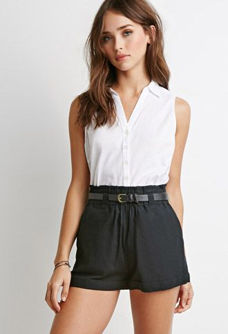 Belted High-Waisted Shorts | Forever21 - 2000167286