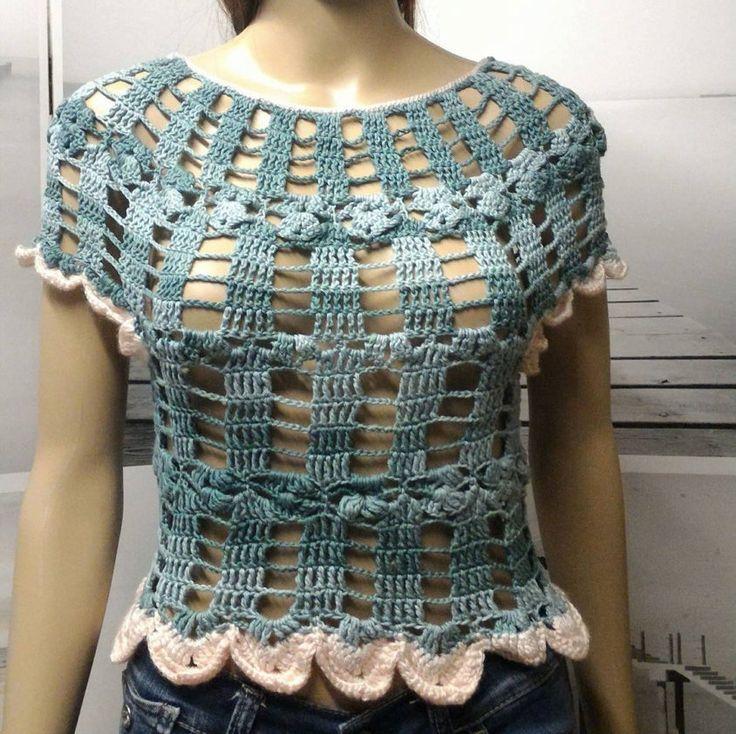 top tee shirt debardeur à manche courte 100% coton crochet taille 36 ou T1 de la boutique leloquencedelisa sur Etsy