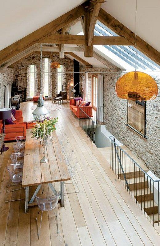 Love the beams exposed stone walls