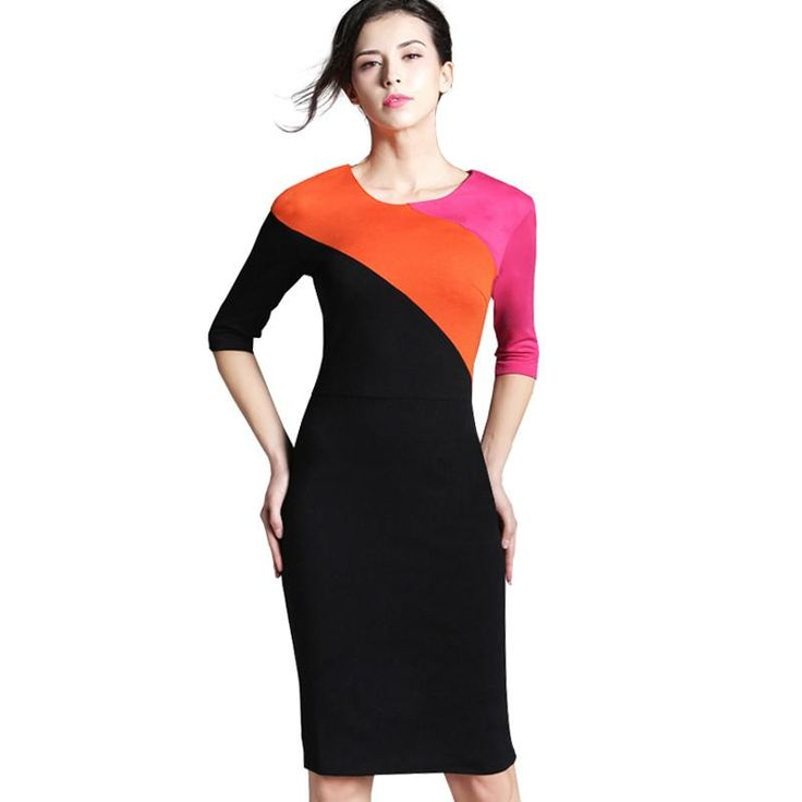 Nice-forever Spring Vintage Formal Patchwork O-neck Office Lady Wear for Work Bodycon Slim 3/4 Sleeve Sheath Women Dress 449