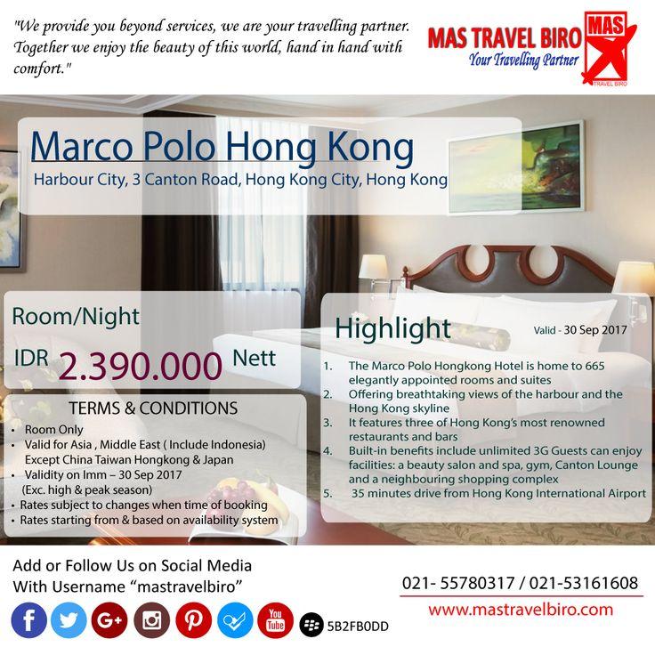 """Selamat Pagi, cek yang satu ini yuk. Bermalam di Hotel """"Marco Polo"""" Hongkong hanya Rp 2.390.000. Yuk Booking segera ☺️ #mastravel #promohotel #hongkong"""