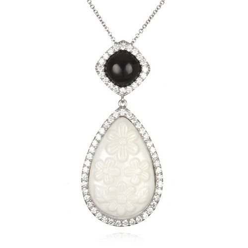 Rhodium Plated Silver Freshwater Cultured Mother of Pearl Pear Drop Pendant-18""