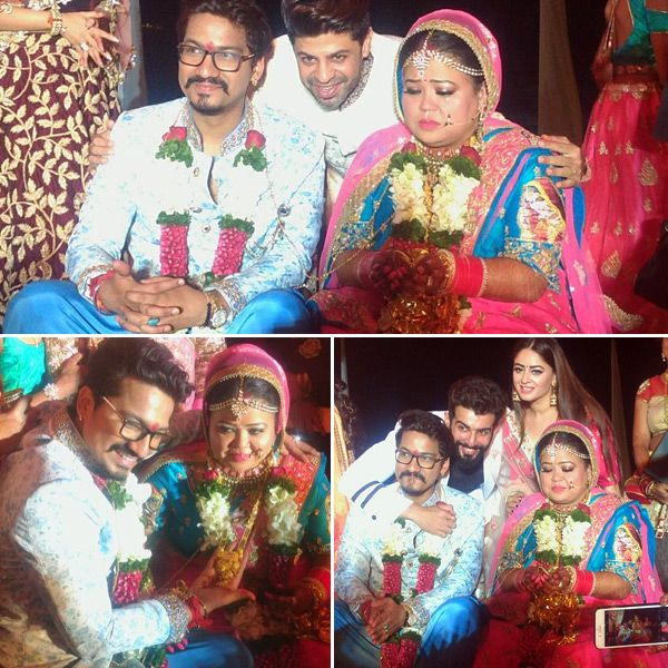 New bride Bharti Singh looks visibly moved as Adaa Khan, Jay Bhanushali, Anita Hassanandani get clicked with the couple – view… #FansnStars
