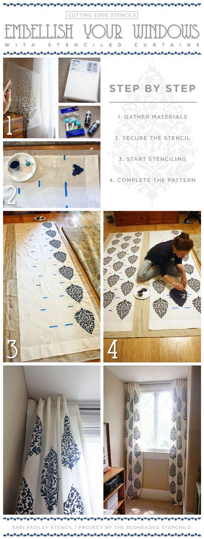 DIY stenciled curtains using the Sari Paisley stencil pattern. http://www.cuttingedgestencils.com/wall-stencil-paisley.html  #howtostencil #curtains #saripaisley