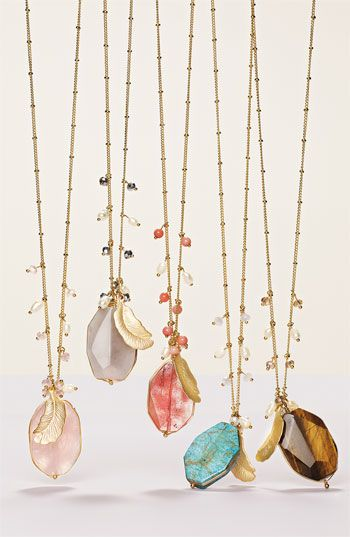 Cara Accessories Semiprecious Oval Pendant NecklaceOval Pendants, Boho Chic, Fashion, Cara Accessories, Pendants Necklaces, Raw Gemstone, Jewelry, Long Necklaces, Handmade Necklaces