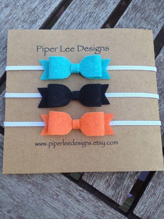 Felt bow headband headband set of headbands by PiperLeeDesigns