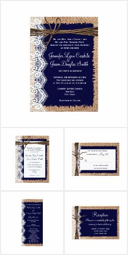 Navy Blue Burlap Lace Wedding Invitation Set. This rustic country wedding set / stationary / suite may include: Wedding invitation cards, wedding envelopes, wedding RSVP Cards, wedding address labels, save the dates, wedding programs, wedding thank you cards, rehearsal dinners, stamps and more matching wedding products. Click image to see all available matching items.
