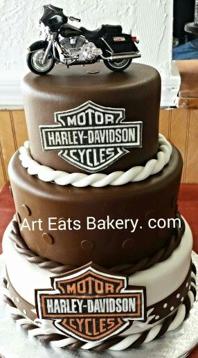 motorbike template for cake - three tier custom brown and ivory fondant harley davidson
