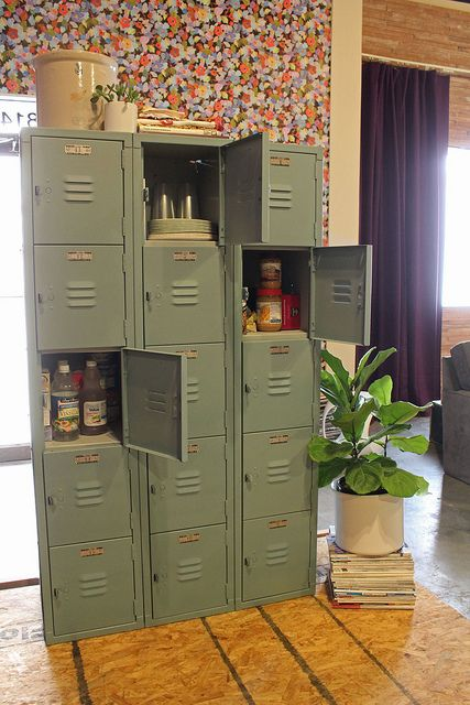 Using an old set of lockers as a pantry - awesome idea! From karapaslaydesigns.com