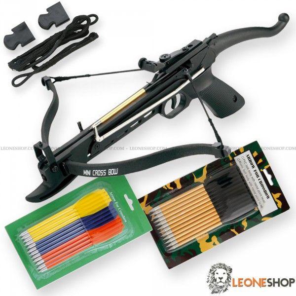 Pistola Balestra Cobra 80 Libbre MAN KUNG, balestre professionali da tiro con manico anatomico a pistola per avere una presa salda e sicura, corpo in alluminio con arco in fibra, mirino, regolatore e corda in poliestere - Lunghezza 49,5 cm - Lunghezza Arco 43,2 cm - Peso 0,9 Kg - Potenza di tiro 80 Libbre - Velocità 48,8 m/s - completa di 2 Blister (Pz 24) di Dardi con corpo in alluminio ed in plastica con punta in metallo + corda di ricambio in poliestere