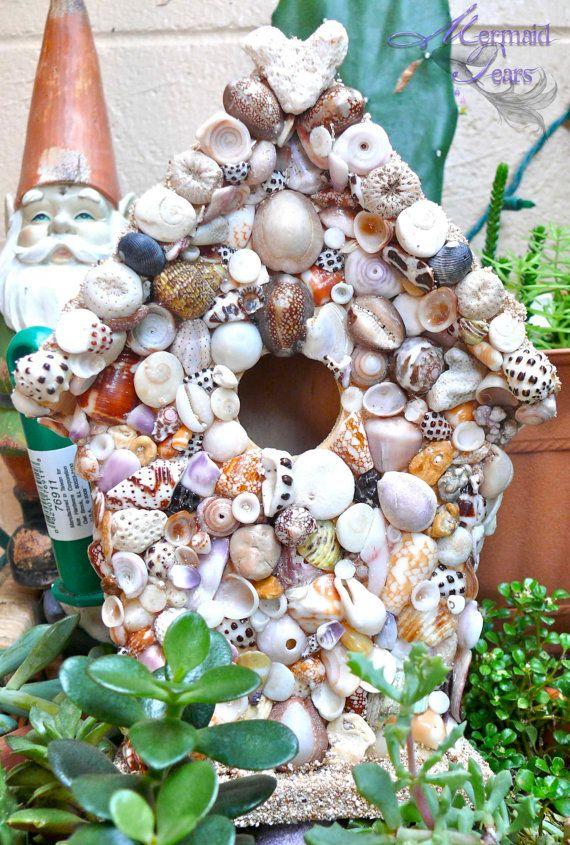 Seashell Birdhouse   Outdoor Garden Decoration From Hawaii, Tropical Decor  By Mermaid Tears. $