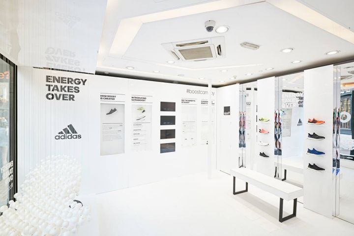 The shop featured adidas boost technology pods and also featured break ups of the shoe outlining the products abilities.