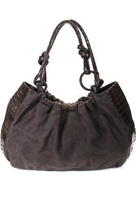 256c8c3f2229 Nancy Gonzalez Brown Canvas Alligator Trim Large Two Handle Tote Handbag