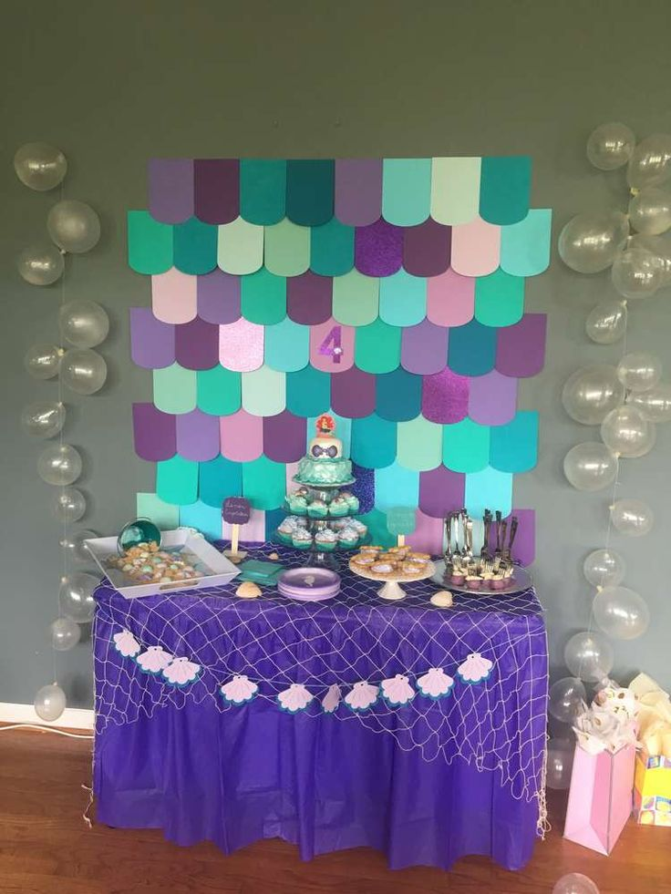 Pretty purple mermaid birthday party! See more party ideas at CatchMyParty.com!