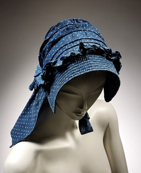 1850-1890 Bonnet, UK  1850-1890   printed cotton twill stiffened with cord and lined with undyed linen, hand-stitched