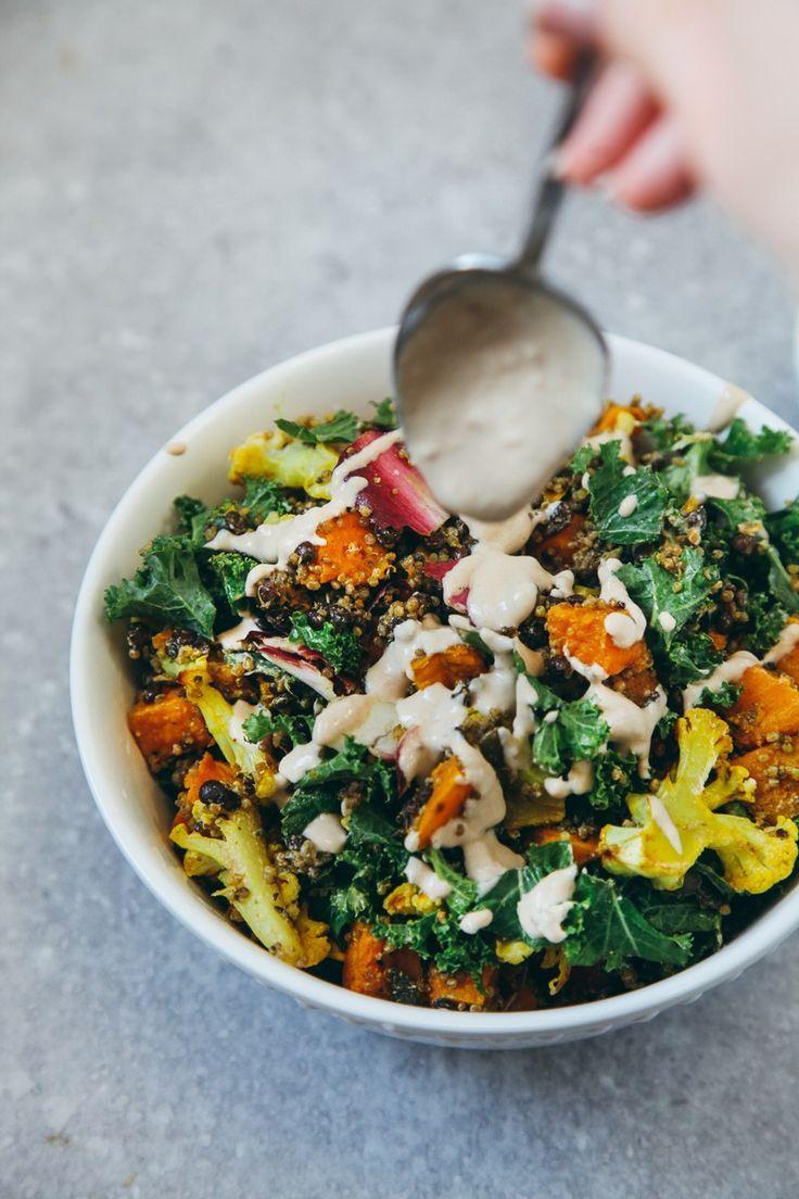 Roasted Veggie & Quinoa Salad with Tahini Garlic Dressing #vegan