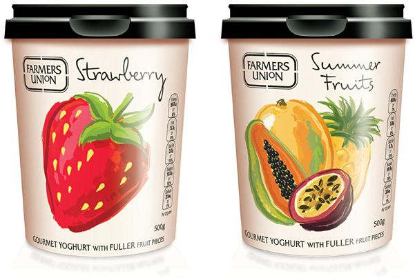 Fruit, packaging, yoghurt packaging