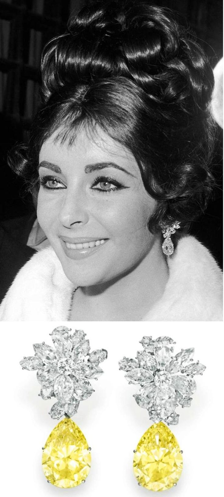Elizabeth Taylor arrives at a restaurant in Rome to celebrate her 30th birthday, wearing white & yellow diamond earrings.