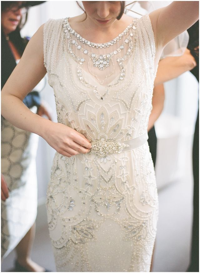 "Ellie looks every inch a Hollywood film star in her beautiful beaded ""Esme"" Jenny Packham fitted gown, and seemed to tie in so perfectly with all the other elements of the day. - London Bride"