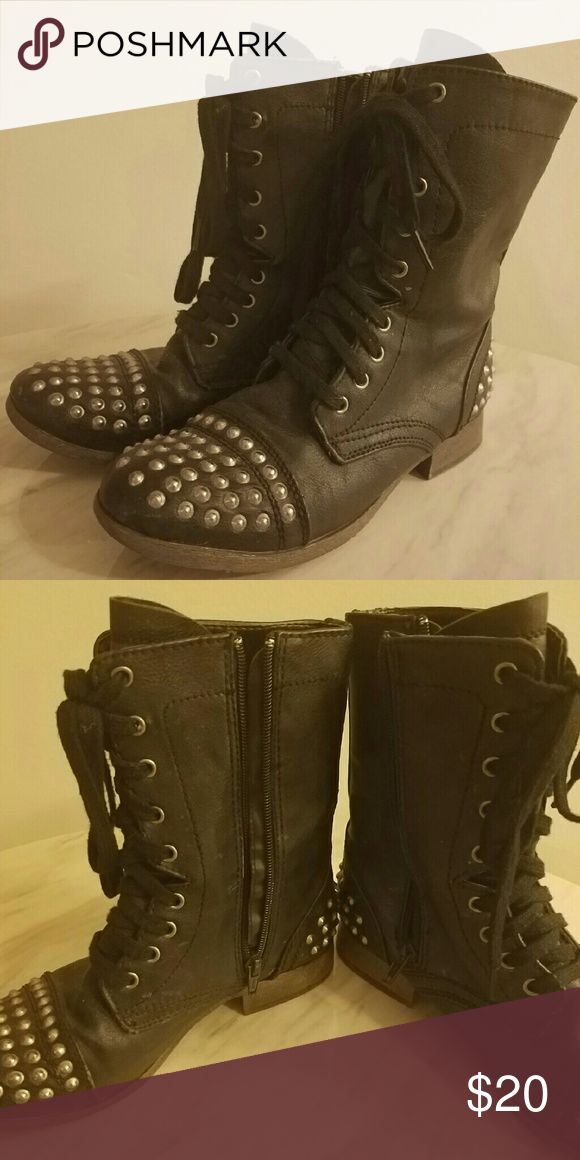 Candie's Black studded combat boots Great black combat boots! Only wore a few times. Zippers on the side as well. I am open to any offers! Let me know if you have any questions or want more pictures! Candie's Shoes Combat & Moto Boots