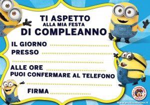 BIGLIETTO INVITO FESTA MINIONS